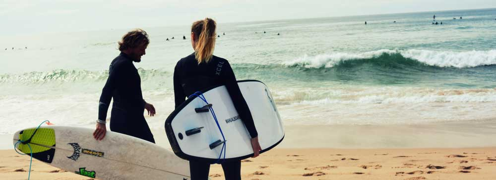 working and surfing